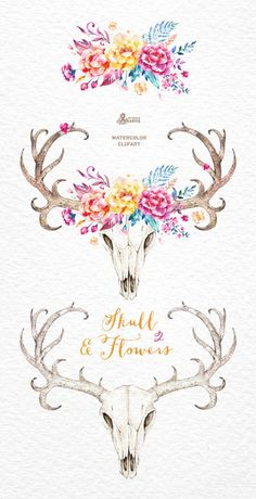 Skull & Flowers 2. Watercolor skulls with antlers by OctopusArtis