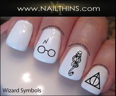 Harry Potter Nail decals Deathly Hallows Nails Dark Mark Nail Decals NAILTHINS on Etsy, $3.50