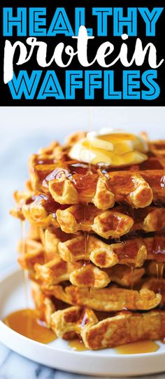 Healthy Protein Waffles - Start your day right with these freezer-friendly waffles made right in a blender! So filling with calories and protein! Thanks to Damn Delicious Brunch Recipes, Breakfast Recipes, Snack Recipes, Cooking Recipes, Healthy Waffle Recipes, Cooking Fish, Pancake Recipes, Healthy Protein, Protein Snacks
