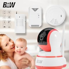 WiFi IP Camera Security Protection +Infrared Motion Sensor/Smoke/Gas Detector Baby Monitor Alarm Wireless IP Camera BW13P