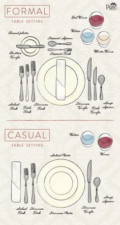 Creating a great table setting means that every item has a place and a purpose. These easy to follow place setting diagrams will impress friends and family at your next dinner party. | Pulte Homes                                                                                                                                                                                 More