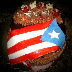 Swiss Chocolate Cake - decorated with a fondant Puertorican flag :) Swiss Chocolate, Chocolate Cake, Gourmet Cakes, Custom Cakes, Science Nature, Birthday Cakes, Strawberries, Puerto Rico, Fondant