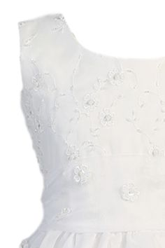 Dimensional Flowers, Embroidery & 3 Tier Hem Organza First Holy Communion Dress (Girls Sizes 5 to 14)