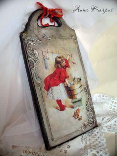 """Купить Досочка """"Мамина Помощница"""" - ярко-красный, винтажный стиль, ретро, кухня, уют, Декупаж"""