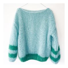 Blue and Green Sweater Knitting Wool, Sweater Knitting Patterns, Knit Patterns, Knitwear Fashion, Knit Fashion, Fashion Outfits, Stylish Outfits, Girl Outfits, Cute Outfits