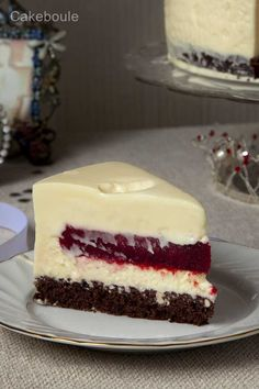 White chocolate mousse cake with a raspberry blast secret center!