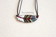 Feather necklace bird feather pendant by lacravatteduchien on Etsy