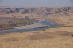 Canadian Badlands, Alberta. View of the Red Deer River, Western Uplands Lodge, Bindloss, Alberta, Canada