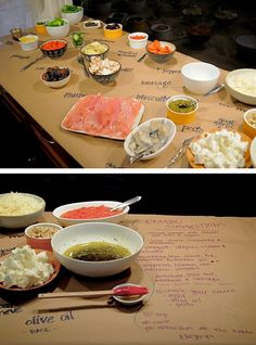 Who knew that kraft brown wrapping paper could serve as a board to indicate the dishes of ingredients written on the table.    In this pizzas buffet, each guest make their own pizza from all the ingredients and bake later. No doubt that it's a brilliant and original idea for a party.