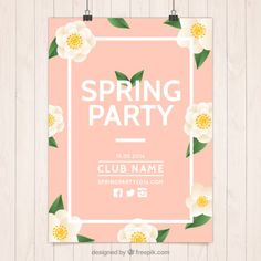 Pink spring party poster with flowers Free Vector