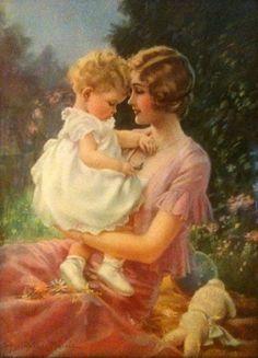 Mother and Child -- Mabel Rollins Harris (XX Century, American) Vintage Prints, Vintage Art, Jessie Willcox Smith, Romantic Themes, Illustration Art, Illustrations, Children Images, Mothers Love, Mother And Child