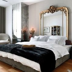 Interior design portfolio by Laura Bohn Design Associates - Dering HallLaura Bohn Design - Antique Mirror @ Headboard WallModern, contemporary, mirrored manor house bed (ALL SIZES)Large mirrored silver leaf E. King Panel bed with oversized Home, Home Bedroom, Parisian Bedroom Decor, Victorian Bedroom, Bedroom Design, Luxurious Bedrooms, Modern Bedroom, Chic Bedroom, Parisian Bedroom