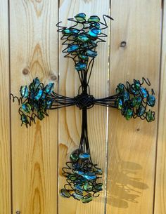 Wire cross with lime green and turquoise