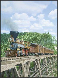 "David A. ORAM - 'American Pioneer' :: Northern Pacific Railway No. a Baldwin Locomotive works ""American"" type steam locomotive shown as built in 1870 Train Silhouette, Train Illustration, Old Steam Train, Train Posters, Choo Choo Train, Train Art, Train Pictures, Old Trains, Train Engines"
