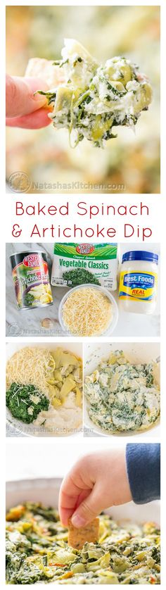 Easy Baked Cheesy Spinach and Artichoke Dip – This dip is seriously addictive! @natashaskitchen