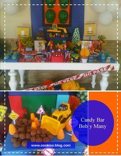 Mira esta preciosa mesa de dulces que realizamos para el primer cumple de unos morochos de Bob el constructor y Many