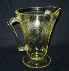 Yellow Pitcher~Florentine~Hazel Atlas Depression Glass