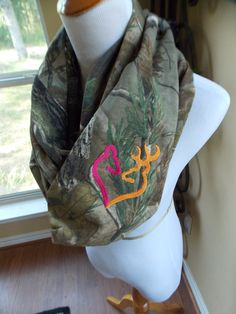 Camo scarf Buck and Doe https://www.etsy.com/listing/187990642/real-tree-camo-infinity-scarf-doe-and