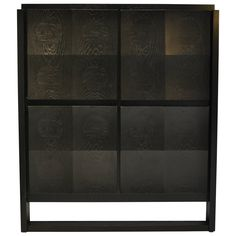 Rare Belgian Ebonized Oak Modernist Bar Cabinet, 1970s | From a unique collection of antique and modern cabinets at https://www.1stdibs.com/furniture/storage-case-pieces/cabinets/