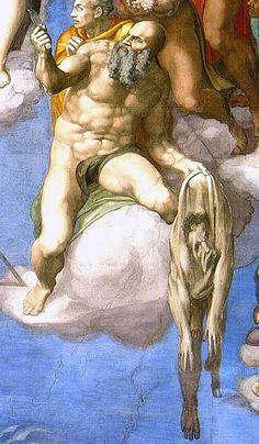 Last judgement.Микеланджело не был доволен замечаниями Аретино и нарисовал его в «Страшном суде» в образе св.Варфоломея,с к-рого содрали кожу. Лицо на коже-автопортрет Микеланджело.
