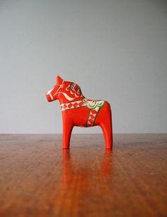 vintage dala    Vintage Swedish Dala Horse - Red / Orange via Etsy.   Sweden