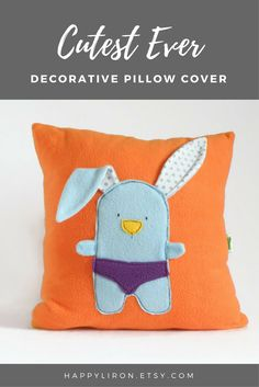 This is a handmade pillow cover, designed for nursery room / for kids playground space. It has a zipper closer, it is so soft and has a cute bunny popping out of it! Fun and cute gift for a new baby, as a kid decor, for birthdays... Nursery Room Pillow Cover, Nursery Fun Decorative Pillow Cover, Bunny Orange Throw Pillow, Baby / Kids cushion Room Decor, Baby shower gift