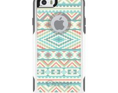 "Custom White OtterBox Commuter Series Case - Apple iPhone 6 (4.7"") - Any Design or Monogram - Blue Orange White Tribal Print"