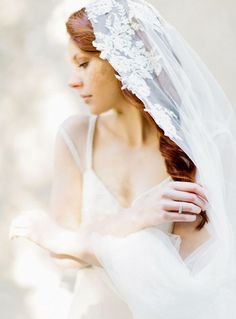 lace applique veil  Wedding inspiration and social media available from http://www.emmahuntlondon.co.uk  Wonderful dreamy veil inspiration. Makeupartist and hairstylist for fineart and destinationbrides http://www.patriciasoper.com