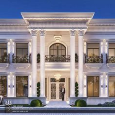 Come And Design Your Villa Or Building Or Hotel Or Interior Decor With Us We Have Fantastic Architectural Designs And Plans House Balcony Design, House Outside Design, Bungalow House Design, House Front Design, Classic House Exterior, Classic House Design, Modern Exterior House Designs, Dream House Exterior, Classic Style
