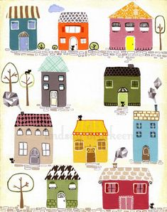 Houses Home Village Print. $18,00, via Etsy.