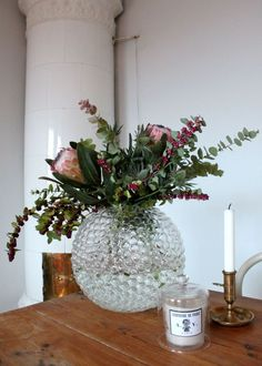 beaded glass vase, pretty blooms