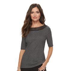 Women's Croft & Barrow® Crochet Tee, Size: Small, Black