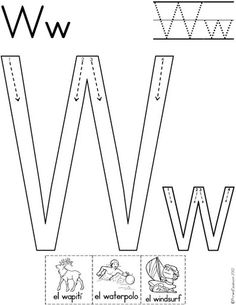 letra w fichas del abecedario y el alfabeto para descargar gratis para imprimir de niños