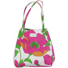 Pre-owned Kate Spade - White Pink & Green Floral Purse