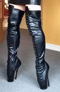 Thigh High Boots Heels, High Heels Stilettos, Heeled Boots, Sexy Heels, Ballet Boots, Ballet Heels, Mode Latex, Crotch Boots, Lingerie Heels