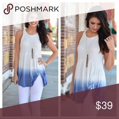 "Ombré Side Knot Tunic Tank This is a fun and fabulous trendy look for summer. This white and blue ombré tunic tank has white embellishments adorning the neck and shoulders. 94% rayon 6% spandex BUST: S- 15"", M- 16"", L- 17"" LENGTH: S- 27/31"", M- 28/32"", L- 29/33"" Add to a bundle for savings at purchase. No trading. Price firm. Infinity Raine Tops Tunics"