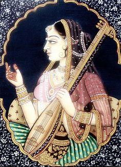 Mirabai - Lord Krishna disciple , Born in Merta , Rani of Chittor , Udaipur Rajasthan India , ca Rajasthani Miniature Paintings, Rajasthani Painting, Rajasthani Art, Mughal Paintings, Indian Art Paintings, Traditional Paintings, Traditional Art, Jodhpur, Mughal Empire
