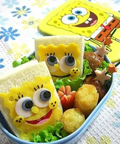 Spongebob Bento!! I would so want this lunch every day, and I'm very much grown! lol