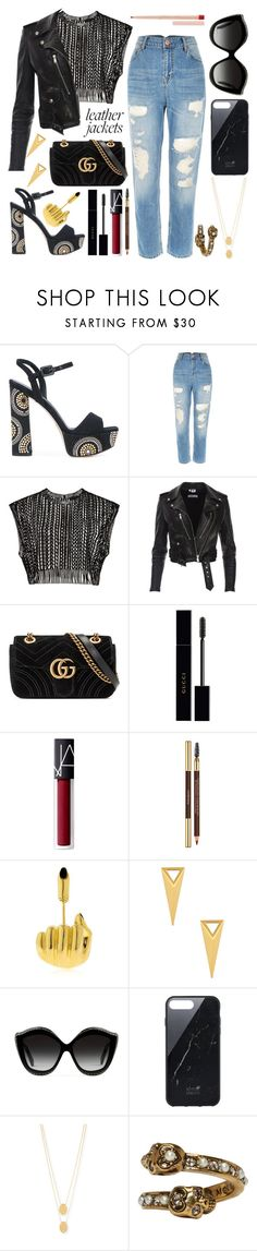 """the cool girl's leather jacket"" by datumacias ❤ liked on Polyvore featuring Le Silla, River Island, Gucci, NARS Cosmetics, Yves Saint Laurent, Anissa Kermiche, Michelle Campbell Jewelry, Native Union, Jennifer Zeuner and Alexander McQueen"