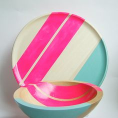 Modern Neon Hardwood 7 Bowl Pink by nicoleporterdesign on Etsy, $40.00