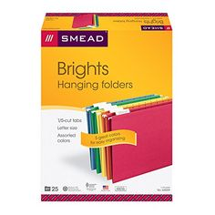 Smead Hanging File Folders, 1/5-Cut Tab, Letter Size, 25 Per Box, Assorted Primary Colors (64059)