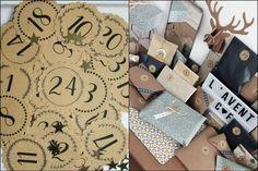 Lot de 24 étiquettes stickers noel kraft chiffres (calendrier de l'avent) - Un grand marché Creations, Notebook, Gift Wrapping, Gifts, Key Pouch, Kraft Paper, Tiny Gifts, Advent Calendar, Gift Wrapping Paper