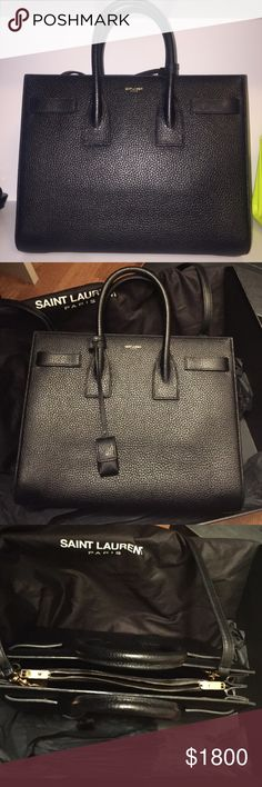 SAC DE JOUR SMALL BLACK PEBBLED LEATHER Textured leather. classic sac de jour with tubular handles and removable strap. 9.8 x 12.5 x 6.4.  In box with receipt. Saint Laurent Bags