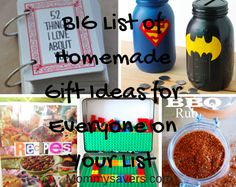 BIG List of Homemade Gift Ideas for Everyone on Your List