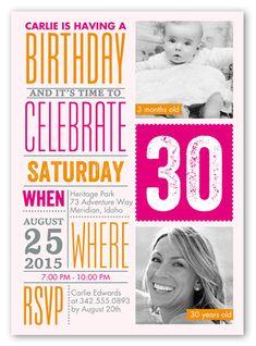 Birthday Invitations: Info Fun, Square Corners, Pink