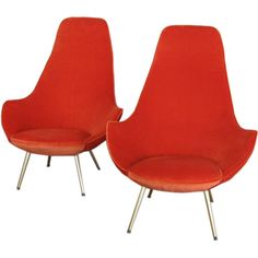Pair of Armchairs in the Style of Ico Parisi | From a unique collection of antique and modern lounge chairs at http://www.1stdibs.com/furniture/seating/lounge-chairs/