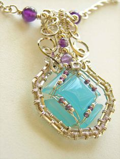 Wire Wrapped Pendant Chalcedony Amethyst Handmade Sterling Silver Wire Gemstone Jewelry