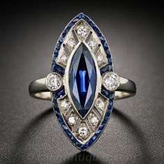Marquise Sapphire and Diamond Art Deco Style Ring Can you believe the quality of this natural sapphire?