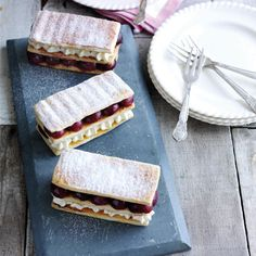 Roasted cherry and vanilla mousse millefeuille -- Rachel Khoo -- she made this with roasted rhubarb and pastry cream also Rachel Khoo, French Dessert Recipes, Classic Desserts, French Recipes, Millefeuille Rezept, Vanilla Mousse, Afternoon Tea Recipes, French Pastries, Baking Recipes
