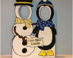 Snowman & Penguin (wooden) Face in Hole Photo Op Stand-in, Personalized Outdoor Christmas Decorations, Winter Wonderland Photo Booth Prop Christmas Photo Booth Props, Christmas Photos, Christmas Crafts, Christmas Holiday, Winter Party Themes, Christmas Party Decorations, Outdoor Decorations, Winter Thema, Snowman Photos